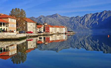 kotor: Amazing view of the village in bay of Kotor, Montenegro Stock Photo
