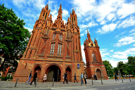 VILNIUS, LUTHIANIA - AUGUST 11: People at the Church of St. Francis and St. Bernard in Vilnius on August 11, 2012.