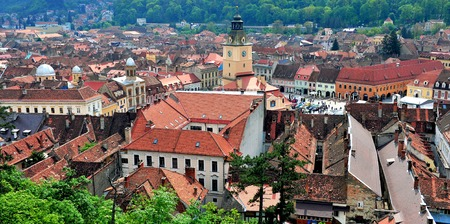 top 7: BRASOV, ROMANIA - MAY 7: Top view of Brasov historical centre on May 7, 2016. Brasov is a capital of Transylvania province of Romania.