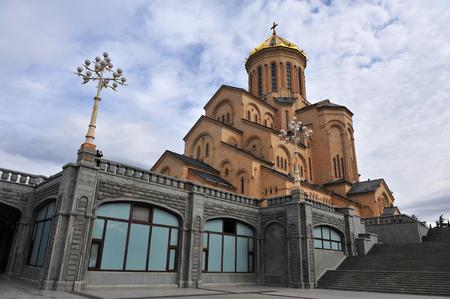 View of Tbilisi Sameba cathedral, city of Georgia Stock Photo