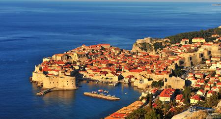 dalmatia: Panoramic view of Dubrovnik at sunrise, Croatia Editorial