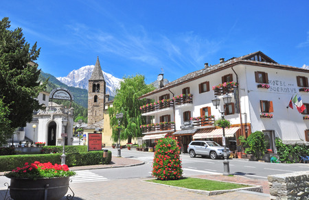 val: PRE SAINT DIDIER, ITALY - JUNE 26: View of the street in town centre of Pre Saint Didier on June 26, 2015. Pre Saint Didier is a resort in Val dAosta located in italian Alps.