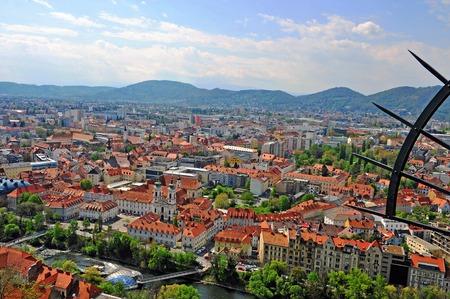 Scenic view of Graz city center, Austria