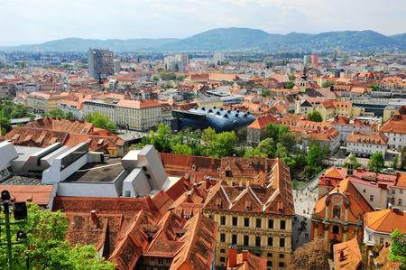 Top view of Graz city, Styria, Austria