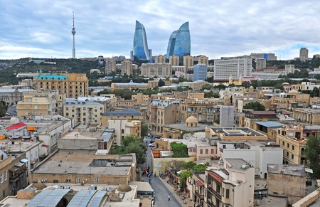 Panorama of Baku city centre, Azerbaijan Stock Photo