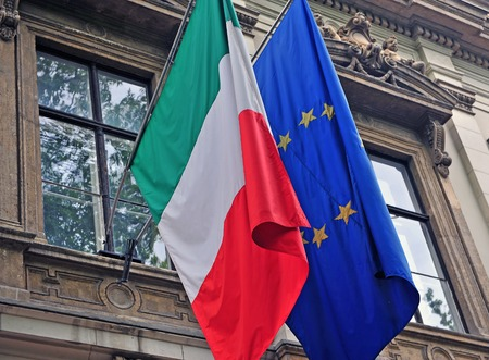 National flag of Italy and European Union Reklamní fotografie - 87705284