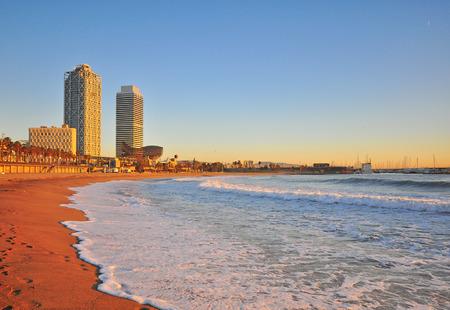 Beach of Barcelona on sunset, Catalonia, Spain Stock Photo