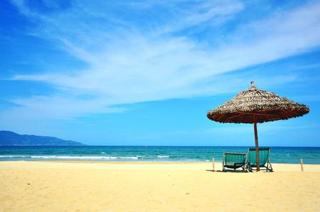in low spirits: Sunny beach in Da Nang resort, South China sea, Vietnam