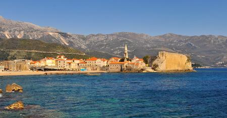 Panoramic view of Budva old town, Montenegro Stock Photo