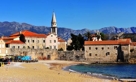 Budva old town and beach, Montenegro