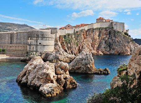 Scenic cliffs at Dubrovik old town, Croatia Stock Photo