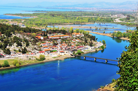 Aerial view on the village by river, Albania