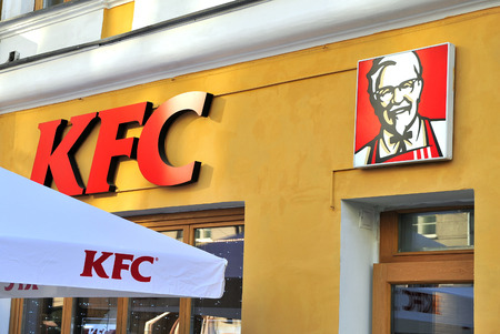 MOSCOW, RUSSIA - MAY 02: Logo of KFC restaurant, Moscow on May 2, 2018. Editorial