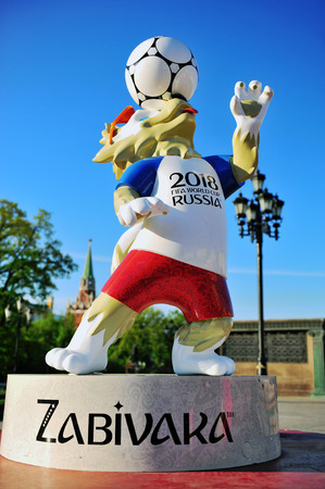 MOSCOW, RUSSIA - MAY 08: Official mascot Zabivaka of FIFA World Cup 2018 in Moscow, Russia on May 8, 2018.
