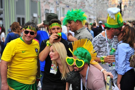 MOSCOW, RUSSIA - JUNE 21: Fans of Brasil football team in Moscow, Russia on June 21, 2018.