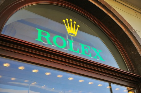 MOSCOW, RUSSIA - MAY 08: Logo of Rolex flagship boutique in Moscow on May 8, 2018. Rolex is a luxury watchmaker founded in Switzerland.