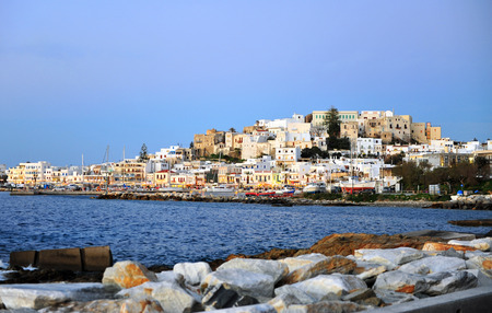 Chora old town by evening, Naxos island, Greece Banco de Imagens