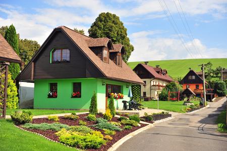 Colorful houses in Liptovsky Trnovec village, Liptov provice, Slovakia