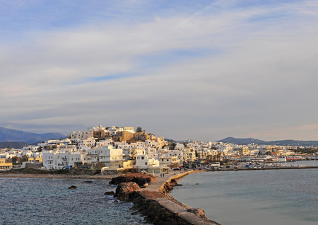 Panorama of Chora old town, Naxos island, Greece