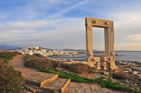Beautiful sunset view of Chora, Naxos island, Greece
