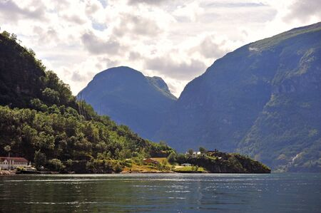 Beautiful view of Aurland on Sognefjord, Norway 免版税图像