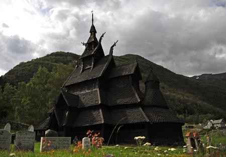 Borgund stave church exteior in Norway Éditoriale