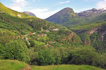 Beautiful view of the village at Geirangerfjord, Norway Stockfoto