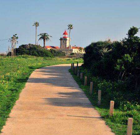 Touristic path to the lighthouse in Algarve, Portugal Stockfoto