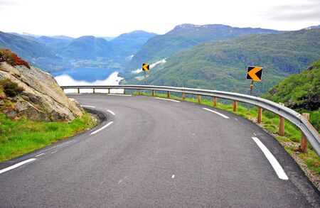 Beautiful road in mountains of fjords, Norway