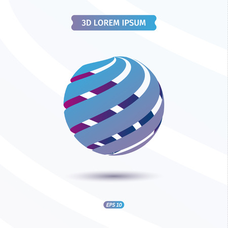 Sphere logo blue red ribbons, pseudo 3d vector illustration Çizim