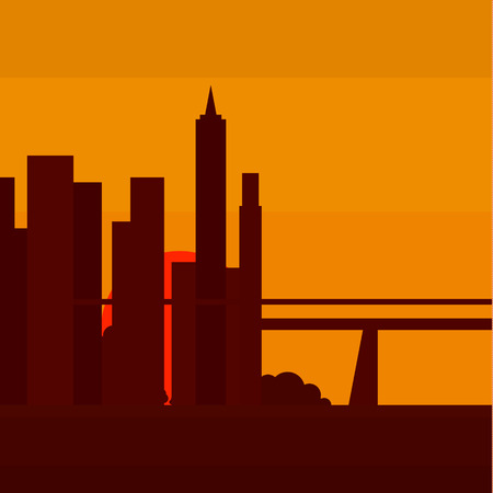 moon  metropolis: Sunset in New York, into a flat illustrations