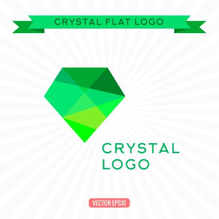 gemstone: Logo Green gem icon. Bright gemstone, Vector illustrations