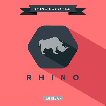 Icoon neushoorn op vlakke stijl illustraties Stock Illustratie