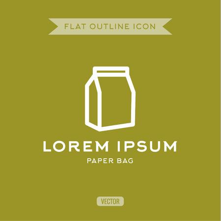 the contour: Paper bag, outline vector icon, logos contour
