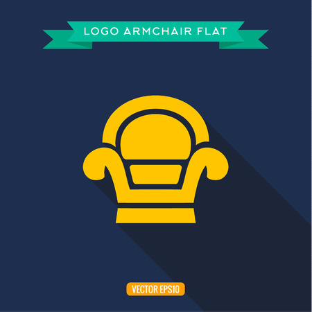 armchair: Armchair chair design logo flat icon vector illustrations