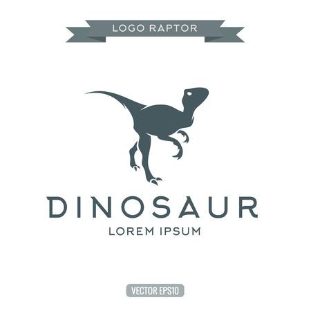 dinosauro: Dinosaur raptor rettile piatto semplice logo icona illustrazioni vettoriali