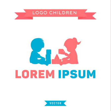 bambini che giocano: Logo, bambini che giocano con i blocchi, ragazzo e ragazza, illustrazioni vettoriali Vettoriali