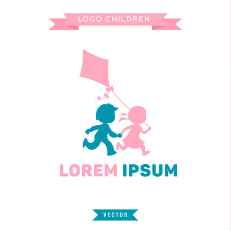 kids playing: Logo Children run and play with a kite, vector illustrations icon Illustration