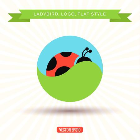 prato e cielo: Ladybug Logo erba cielo icona illustrazioni vettoriali