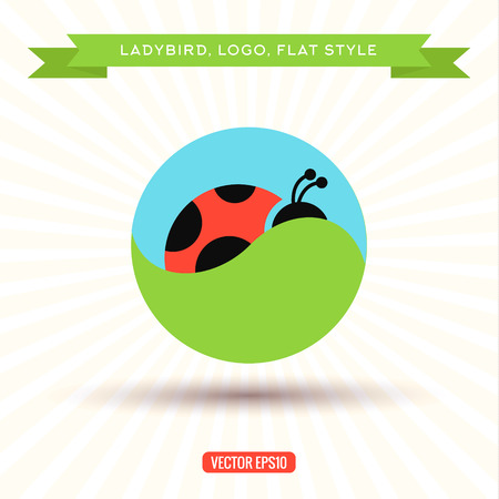 ladybug: Ladybug Logo grass sky icon vector illustrations