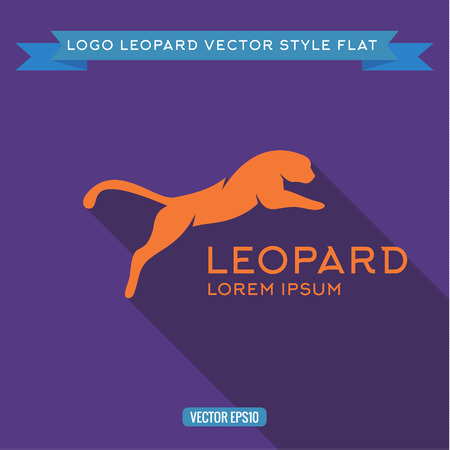 clouded leopard: Logo wild felines into flat, icon vector illustrations Illustration