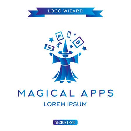 Logo tovenaar beheert gadgets, elektronische apparatuur pictogram vector illustraties