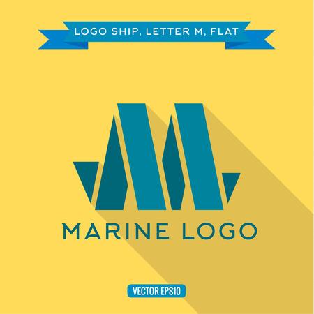 logotipo turismo: Logotipo de la nave abstracta en forma de letra M, ilustraciones vectoriales icono Vectores