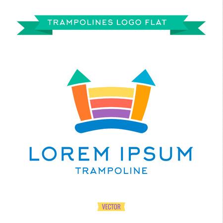 trampoline: Logo inflatable kids trampoline color, vector illustrations