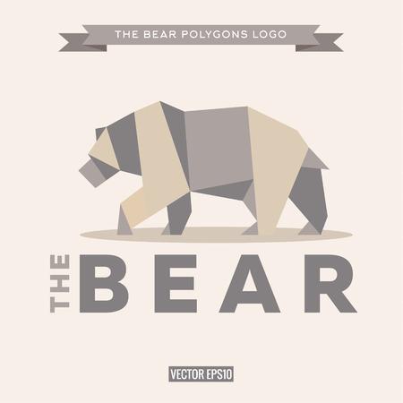 grizzly: Ours logo origami avec des effets polygone et vecteurs de style appartement Illustration