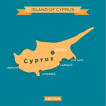 napa: Island of Cyprus, with a mark cities on it vector illustrations