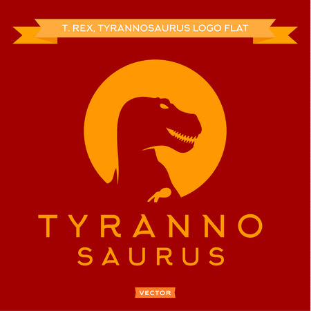 trex: Dinosaur T-rex silhouette against the sun, with open mouth furious, stylish, logos vector