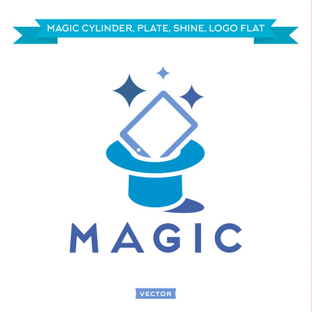 magic hat: Magic Tablet from Cylinder, everything sparkles Trend vector Logos