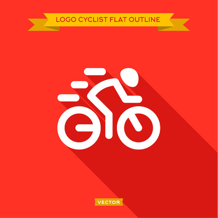 Racing cyclist dinanima logo icon, outlines flat