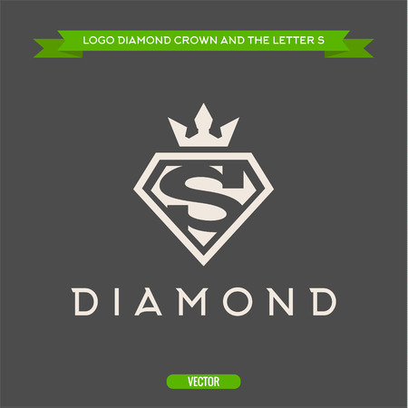 queen s: Diamond with the letter S and flat crown vector logos